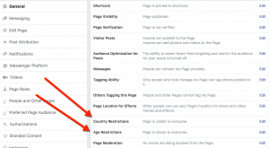 Facebook Audience Restriction Options - Page-Level