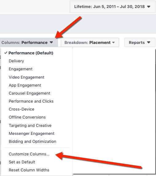 Facebook Reporting Customize Columns