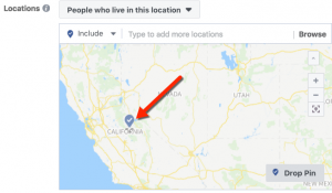 Facebook Location Targeting - Drop Pin Example