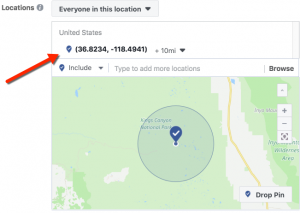 Facebook Location Targeting - Drop Pin with GPS
