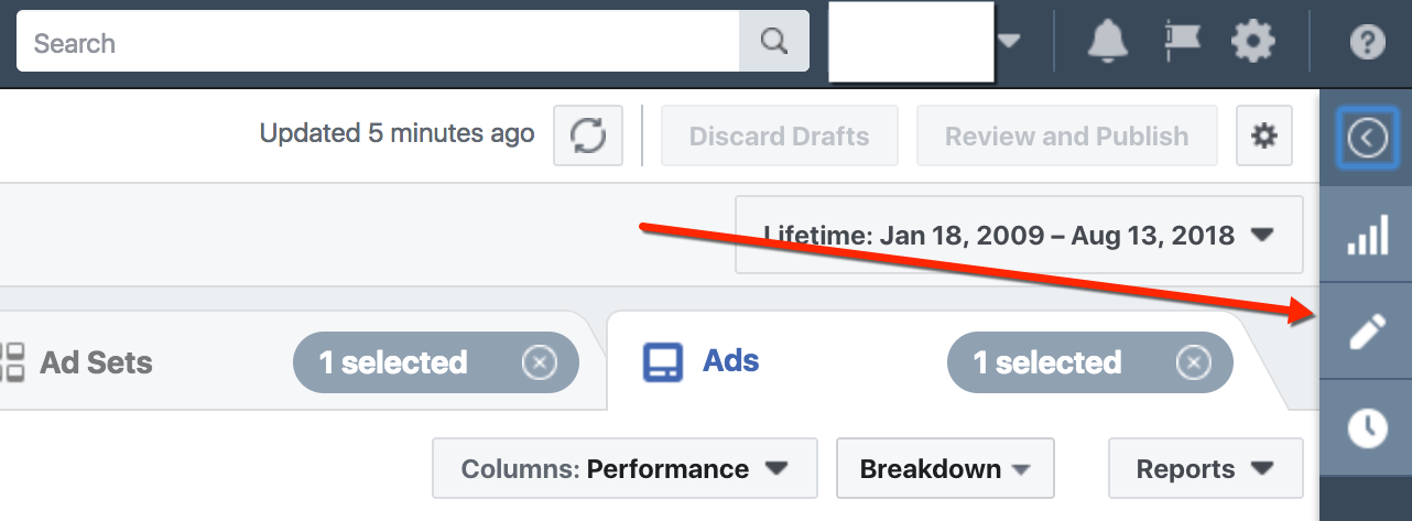 Facebook Ads Manager - Edit Ad Selector Button
