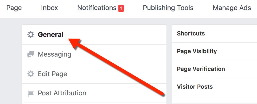 Facebook Business General Settings Tab