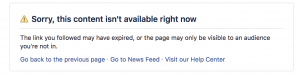 Facebook Page Unavailable Notice