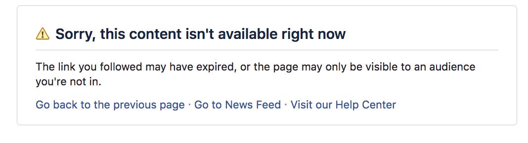 Facebook Page Unavailable Notice