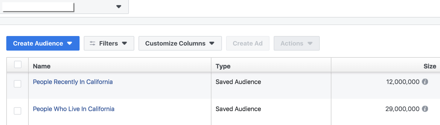 Facebook Audiences Tool - Audience Selector