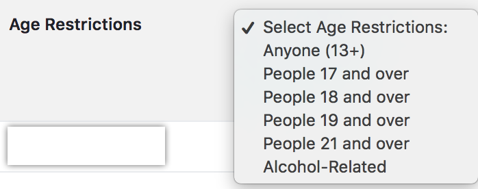 Facebook Age Restriction Options for Page