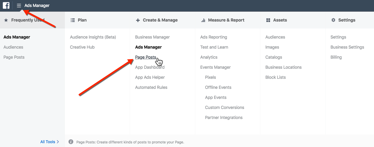 Publish Unpublished Post on Facebook - Page Posts Tool Selector
