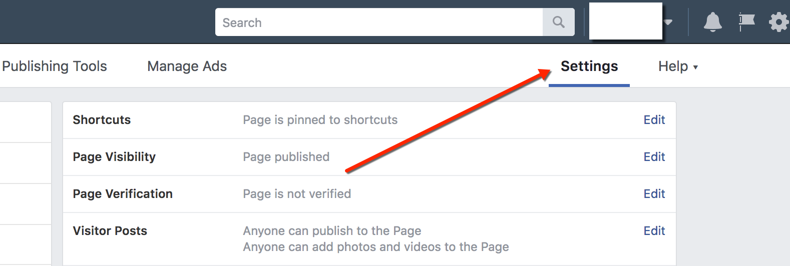 Facebook Business Page Settings Selection