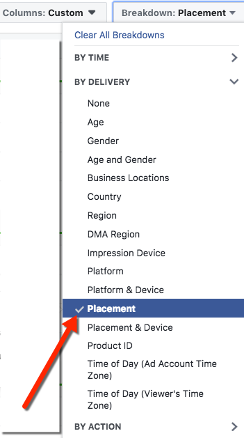 Facebook Ads Manager Select Placement Breakdown