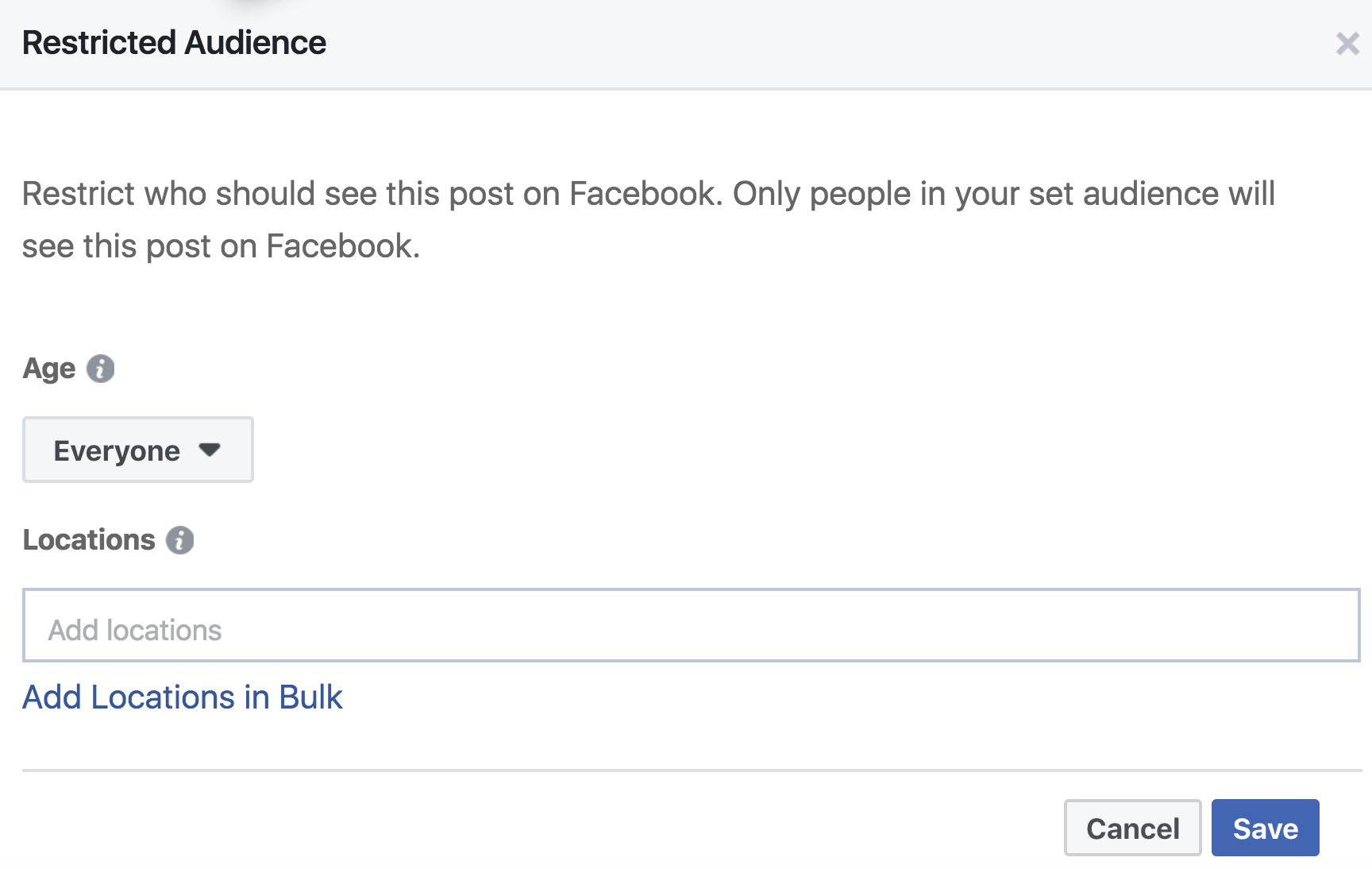Facebook Publishing Tools Audience Restriction Entry Screen