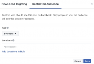 Form for Selecting Restricted Audience in Facebook