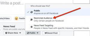 Selector for Post-Level Restricted Audience on Facebook