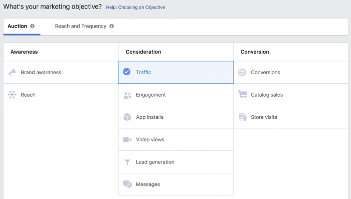 Facebook Ads Objective - Traffic