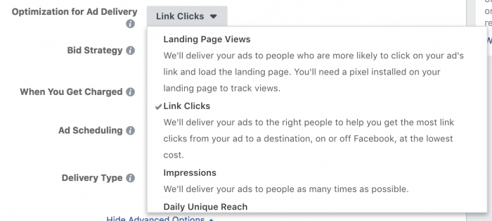 Facebook Ads Optimization Link Clicks