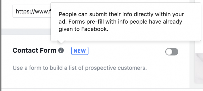 Facebook Canvas Lead Form