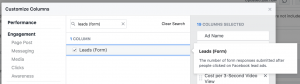 Facebook Ads Manager Customize Columns