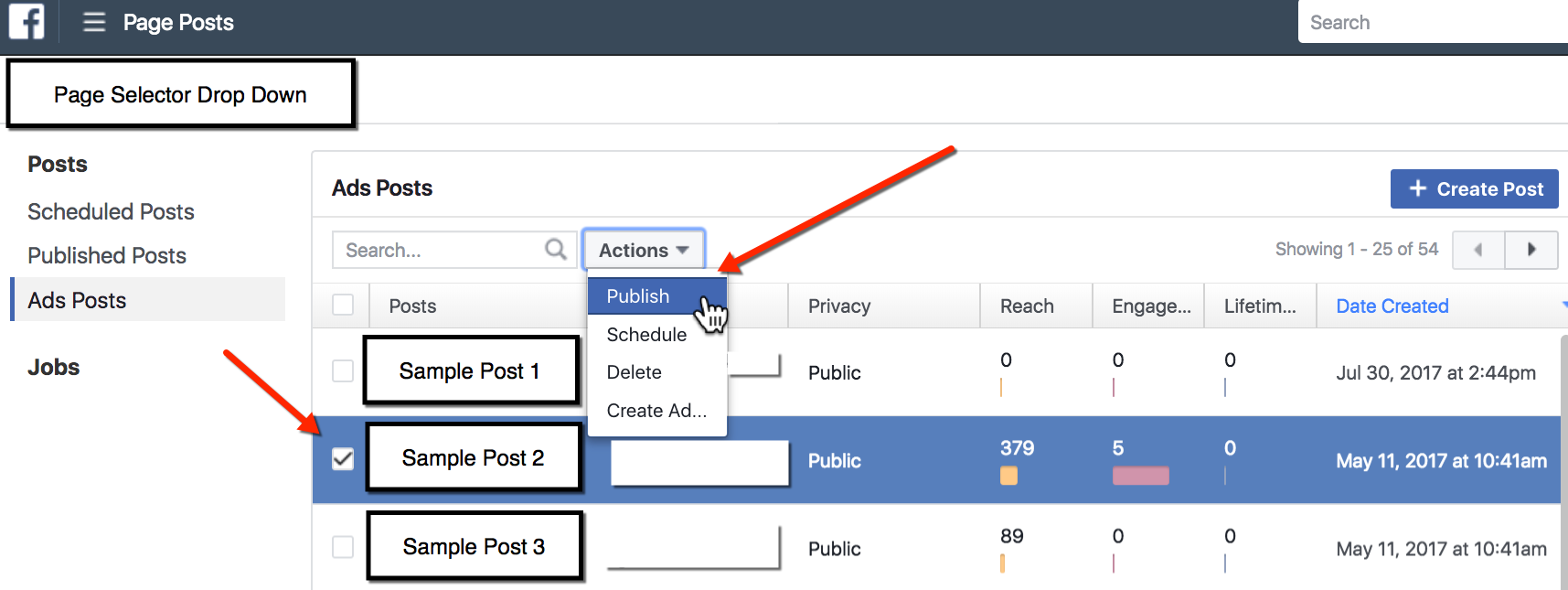 Publish an Unpublished Post - Facebook Page Posts Tool
