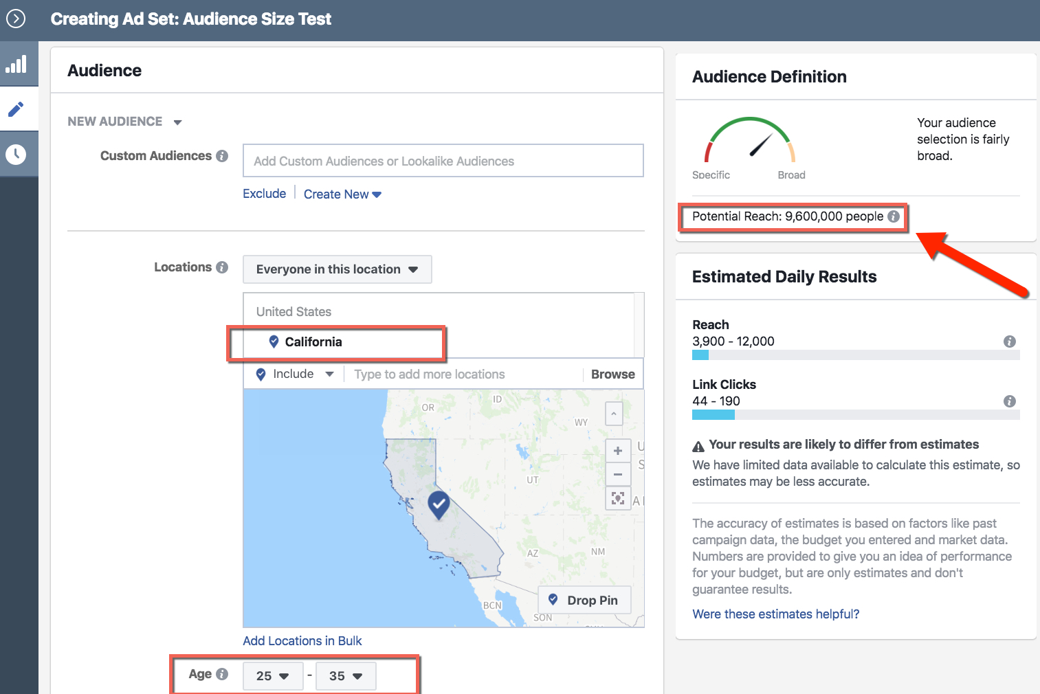 Facebook Audience Selection - Ad Set Level - California Users Aged 25-35