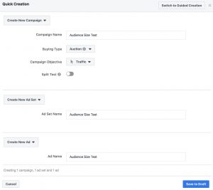 Facebook Campaign Creation - Ad Set and Ad
