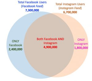 Facebook and Instagram Audience Visualization of Overlap and Exclusion