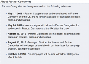 Facebook Partner Categories Removal Schedule