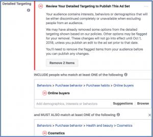 Facebook Removal of Partner Category Targeting Warning Message