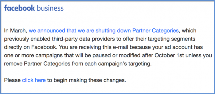 Removal of Partner Categories - Email Sent By Facebook
