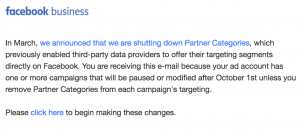 Facebook Removal of Partner Categories - Email