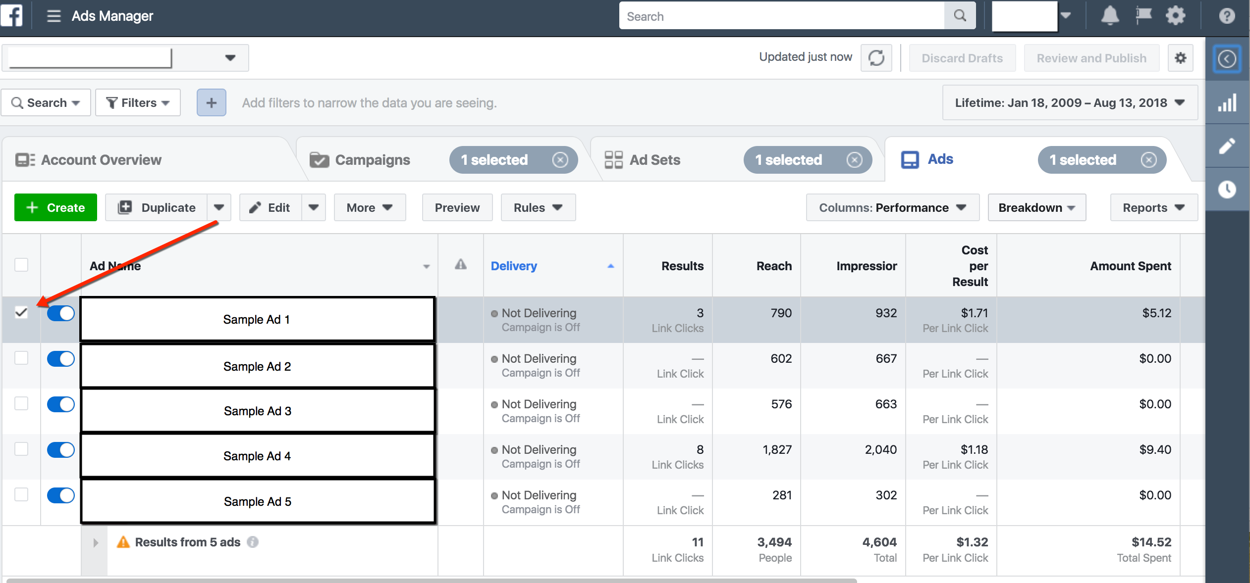 Facebook Ads Manager - Select Post to Publish