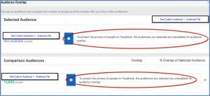 Facebook Custom Audience Overlap Comparison