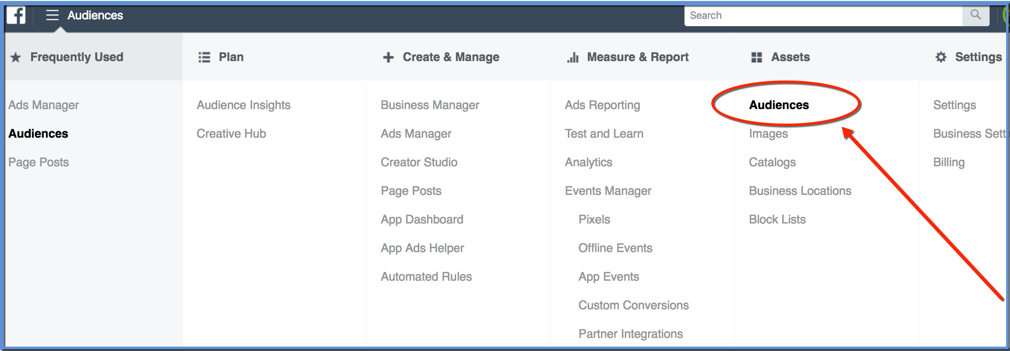 Audiences Tool Ads Manager and Business Manager