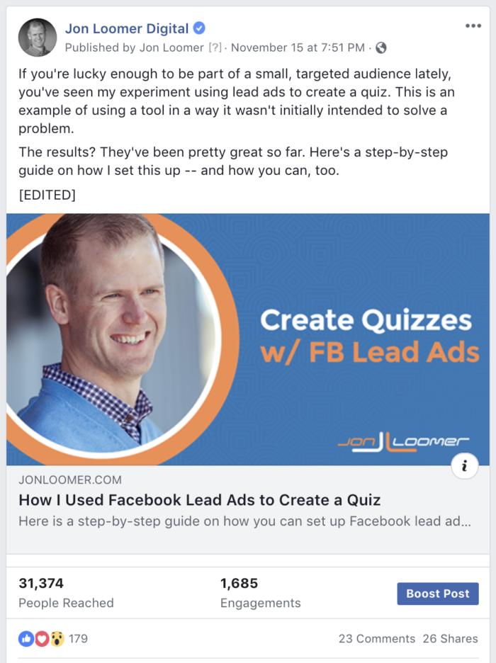 Edited Facebook Post