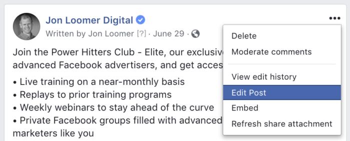 Edit Unpublished Facebook Post