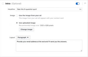 Facebook Lead Ad Form Quiz