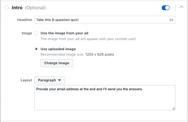 Facebook Lead Ad Form Quiz