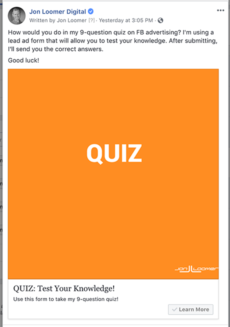 Facebook Lead Ad Quiz