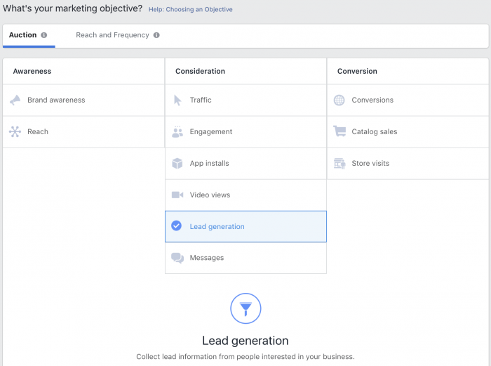 Lead Generation Facebook Campaign Objective