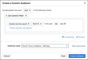 Time on Website Facebook Custom Audience
