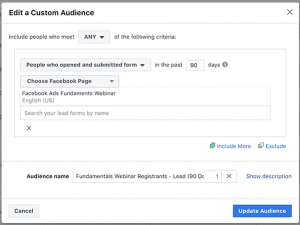 Lead Ad Form Custom Audience
