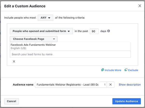Lead Ad Form Custom Audience
