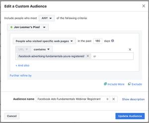 Website Custom Audience Registration