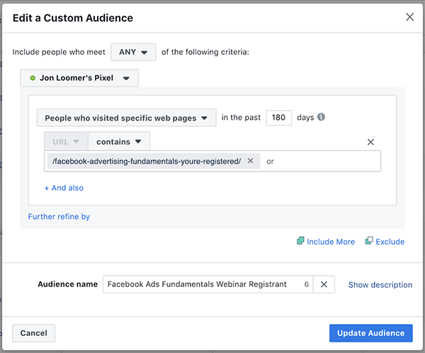 Website Custom Audience Registration