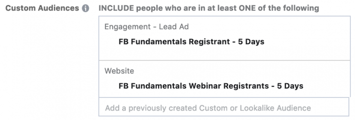 Evergreen Facebook Campaign Targeting