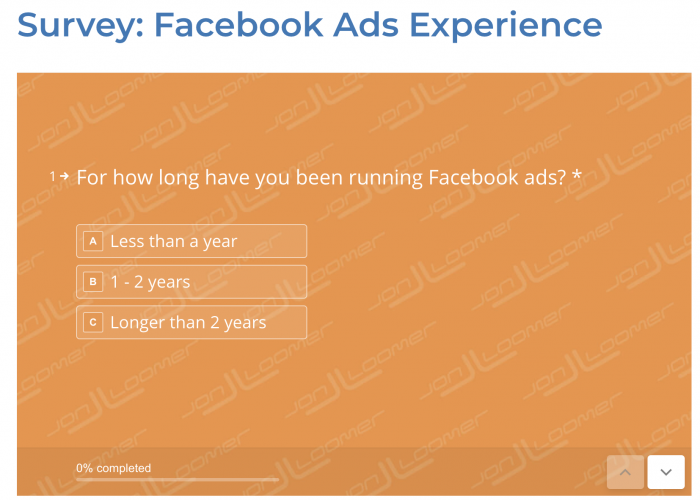Facebook Ads Experience Survey