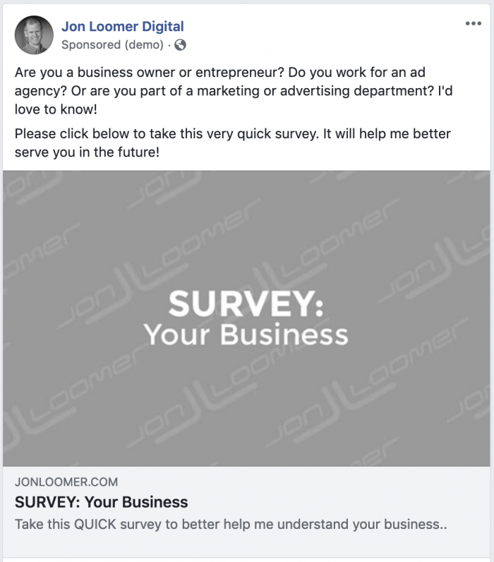 Facebook Ads Business Survey