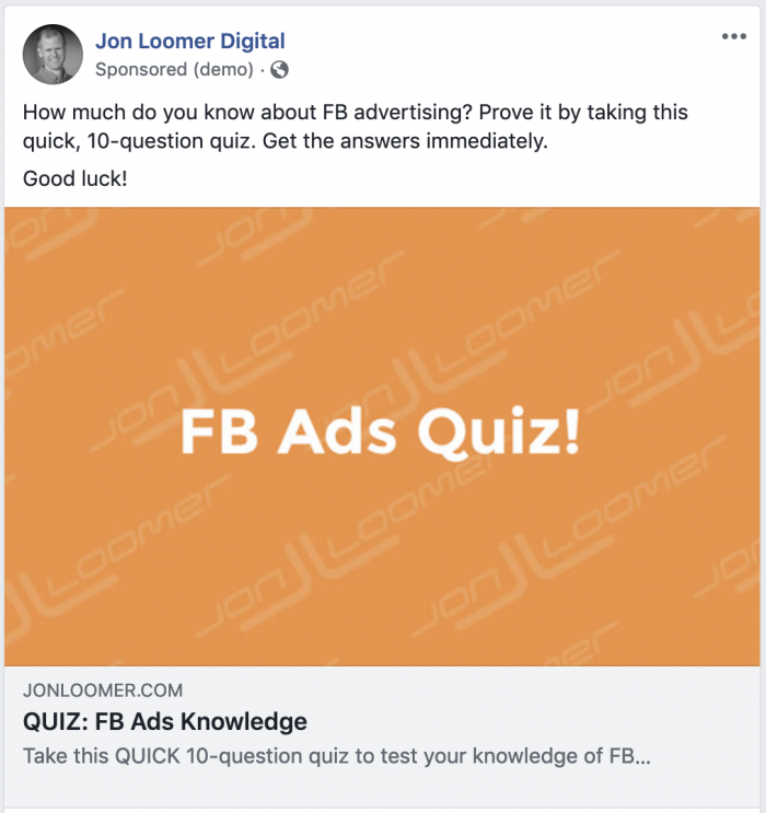 Facebook Ads Quiz