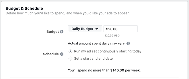 Facebook Daily Lifetime Budget