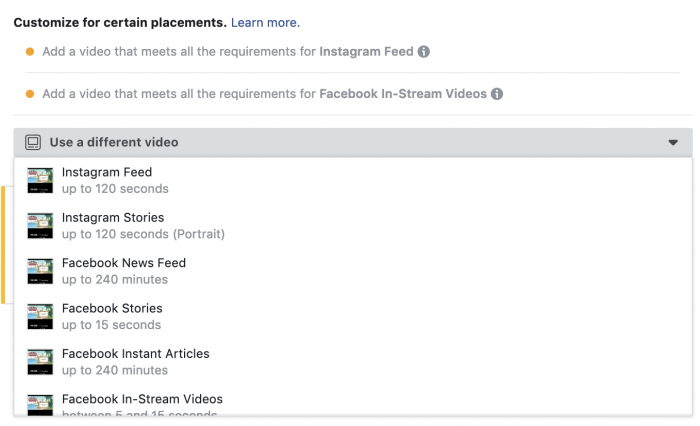Facebook Ads Placements Custom Creative