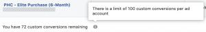 Facebook Custom Conversions Limitations