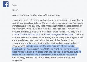 Facebook Ad Rejection Abbreviations